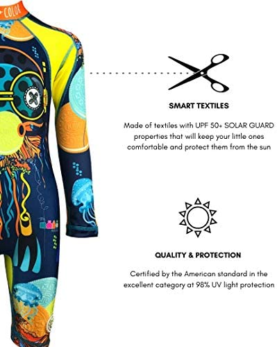 Rash Guard Swimsuit KRIO COLOR Polipo Sea Zipper Boy Long Sleeve UPF 50