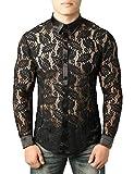 JOGAL Camisa de manga larga para hombre, diseño de flores, transparente Hojas negras. XXL