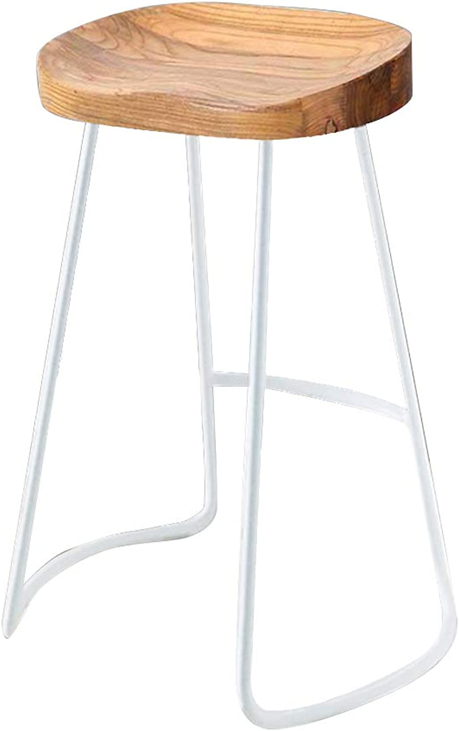 Wooden Stools Bar Stools Breakfast Dining Stools for Kitchen Metal Frame Solid Wood seat Maximum Load 120KG