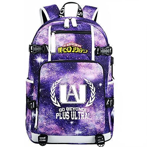 ZZGOO-LL My Hero Academia Deku/Midoriya Izuku USB Anime Laptop Backpack Bag Travel Mochilas Daypacks Bolso Ligero-E