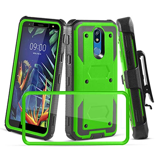 LG K10 2019 Case, LG K40 Case W [Built-in Screen Protector] Heavy Duty Full-Body Protective Armor Rotatable Belt Clip Holster Case [Kickstand], Green