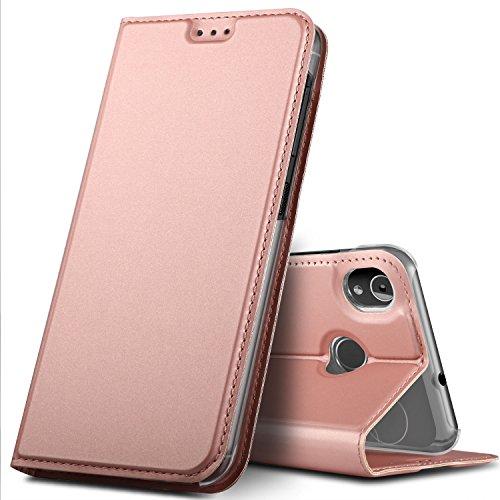 GeeMai Gigaset GS185 Hülle, Premium Gigaset GS185 Leder Hülle Flip Hülle Tasche Cover Hüllen mit Magnetverschluss [Standfunktion] Schutzhülle handyhüllen für Gigaset GS185 Smartphone, Rosegold