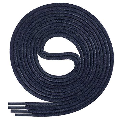 Di Ficchiano-SW-03-navy-90 gewachste runde Schnürsenkel, Schuband, Laces, Durchmesser 2-4 mm für Businessschuhe, Anzugschuhe und Lederschuhe
