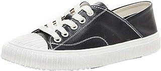 Dames Platte schoenen Zwart Wit Leer Veters Zomer Herfst Ronde neus Casual Enkel Eenvoudige stijl Lichtgewicht sneakers