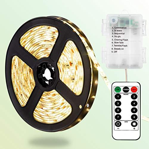 DreiWasser LED Licht Streifen, 2m 60 LEDs Lichtband Batteriebetrieben Streifenlichter 8 Modi mit IR Fernbedienung (Warmweiß)
