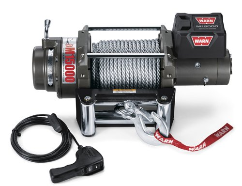 WARN 47801 M15000 Series Electric 12V Heavyweight Winch with Steel Cable Wire Rope: 7/16' Diameter x 90' Length, 7.5 Ton (15,000 lb) Pulling Capacity