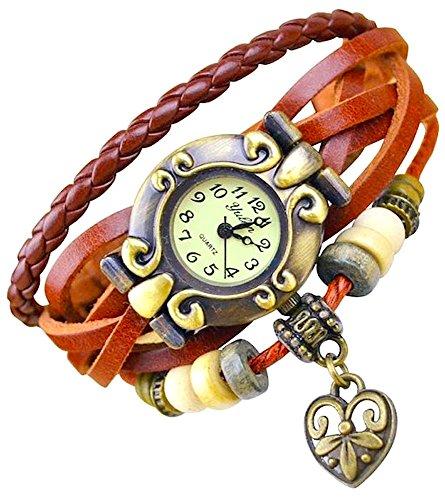 Kim Johanson Reloj de pulsera para mujer de piel en color marrón,...