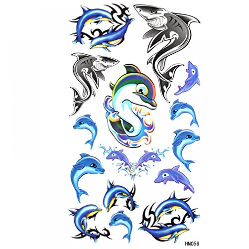 King Horse belle personnalisé autocollant imperméable à l'eau et la sueur de tatouage bleu modèle Shark Dolphin