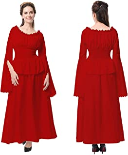 Vintage Costume Dress,Womens Renaissance Medieval Ruffled Gown Dress Party Cosplay Outfit