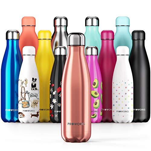 Proworks Edelstahl Trinkflasche | 24 Std. Kalt und 12 Std. Heiß - Premium Vakuum Wasserflasche - Perfekte Isolierflasche für Sport, Laufen, Fahrrad, Yoga, Wandern und Camping - 750ml - Kupfer
