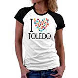 Teeburon I Love Toledo Colorful Hearts Camiseta Raglan Mujer