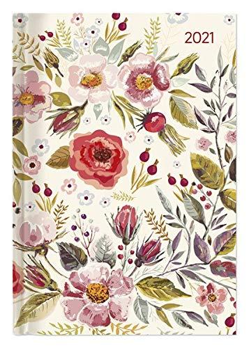 Buchkalender Style Flower Field 2021 - Büro-Kalender A5 - Cheftimer - 1 Tag 1 Seite - 352 Seiten - Blume - Alpha Edition