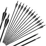 VOMI 12 Paquetes Flechas de Ballesta 31.5 Pulgadas Flechas Carbón Tiro Spine 500 Principiante Práctica de Tiro Flechas Reemplazables Exterior Cazar para Arco Compuesto y Arco Recurvo Arco Largo