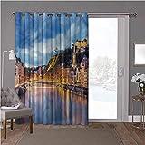 YUAZHOQI cortinas opacas para puerta de habitación, europeas, Saone River Lyon City, 100 x 96 pulgadas de largo cortinas de cristal para ventana (1 panel)