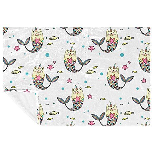 EZIOLY Manta de felpa con patrón de sirena de gato sin costuras, manta de felpa súper esponjosa, suave y cálida, para cama, sofá, al aire libre, viajes, picnic, camping (59 x 39 pulgadas)