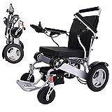 Sillas de ruedas eléctricas CHHD, silla de ruedas eléctrica fácilmente plegable, silla de ruedas motorizada, silla de ruedas eléctrica compacta (peso neto 23 kg), batería doble, segura y fácil de cond