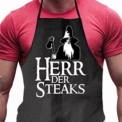 Shirtoo Grillschürze Herr der Steaks - Lustiges Geschenk für Männer und Grillmeister