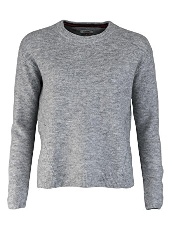 Tommy Jeans Damen BASIC SWEATER Langarm Regular Fit Pullover Grau (Lt Grey Htr 038) Small