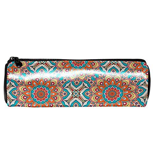 Estuche de lápiz de cuero con mandalas con patrón floral étnico, monedero, bolsa de maquillaje cosmético para estudiantes, papelería, escuela, trabajo, oficina, almacenamiento