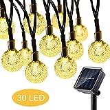 Solar Lichterkette Aussen Garten 30er Warmweiß LED Kristall Kugel Lichterketten für Außen, 8 Modi IP65 Wasserdicht Außerlichterkette für...