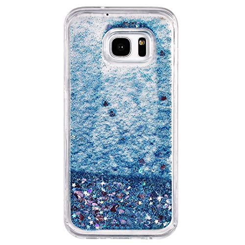 Galaxy S7 Edge Líquido Caso Azul, Suave Anti-Shock Protección Carcasa Líquido Glitter Purpurina Brillante Arena Movediza Anti-arañazos Brillo Silicona Fundas Compatible con Samsung S7 Edge G9350
