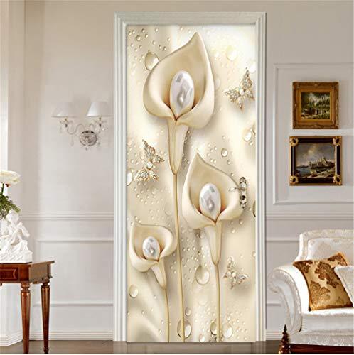 artkingdom Wallpaper PVC three flowers Decoration Self-Adhesive Stickers