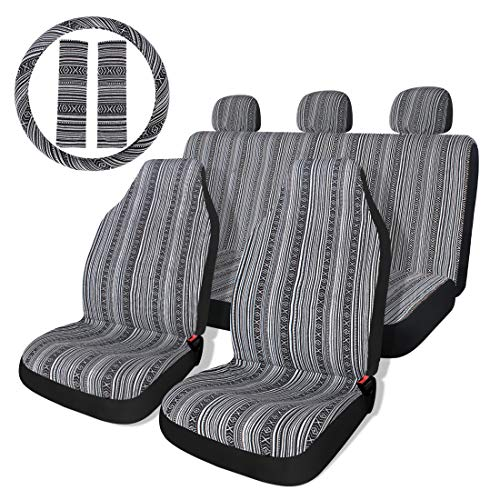 Baja Black & Gray Saddle Blanket Car Seat Covers with Steering Wheel Cover & Seat Belt Protectors 10pc Universal Seat Covers Full Set for Sedan, Car
