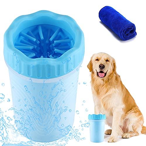 Pulitore Zampe Cane, Pulitore Zampa per Cani 2 in 1 Portatil Spazzola per Animali Domestici Pulisci della Zampa del Cane, Lavazampe Cani con Asciugamano Ideale per Cani Attivi o Giorni di Pioggia