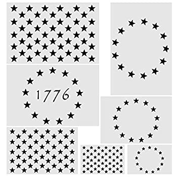 Koogel 7 Pcs Plastic Stencil Template 3 Sizes American Flag 13/50 Star Stencil Template for Planner/Notebook/Wood/Wall/Graffiti/Card DIY Drawing Painting Craft Projects