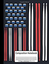 Drum Sticks Drummer Gift Drumming Percussion Composition Notebook 110 Pages Wide Ruled 8.5 x 11 in: Drummer Music Journal