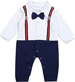 Newborn Baby Boy Gentleman Clothes Tuxedo Bow Tie Romper Jumpsuit Formal Outfits