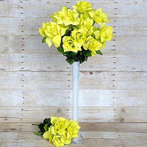 BalsaCircle 168 Sage Green Velvet Open Bloom Roses - 24 Bushes - Artificial Flowers Wedding Party Centerpieces Arrangements Bouquets