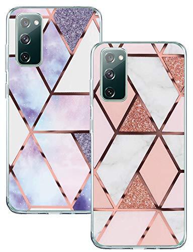 Funda para Samsung Galaxy S20 FE 5G/4G de silicona, diseño de mármol, resistente a los golpes, funda para Samsung S20 Fan Edition/S20 Lite, 2 unidades