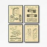 Póster de Invenciones de Música Set de 4 Pósteres Musicales Decoración de Patentes Grabados Sony Walkman Boom Box Disco Compacto iPod Patent WB154 (5 x 7, Pergamino)