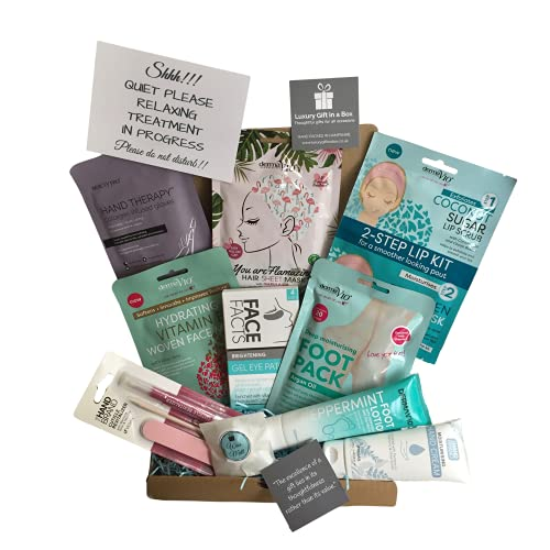 Spa at Home Pamper Treatment Gift Box, Face Pack, Foot Pack, Hand Pack, Hair Mask, Lip Kit,...
