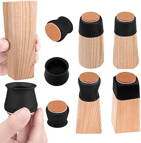 Maylai Upgrade 36pcs Black Chair Leg Floor Protectors Caps for Hardwood Floors Felt Bottom Silicone product image