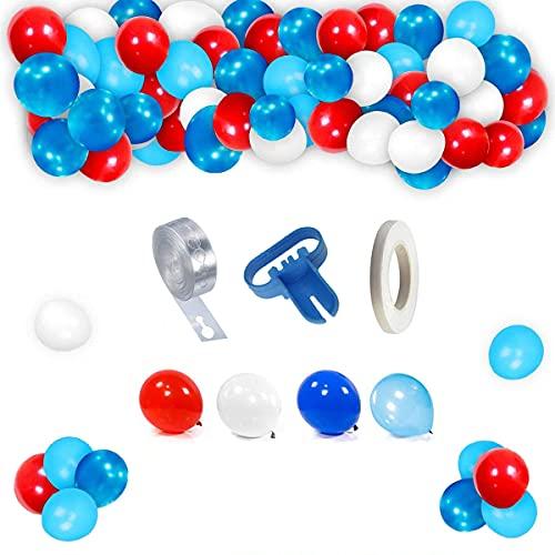 Kit di ghirlande per palloncini in lattice, accessori per feste, blu, rosso, bianco con nastro, nastro blu e bianco, per feste, matrimoni, feste di compleanno