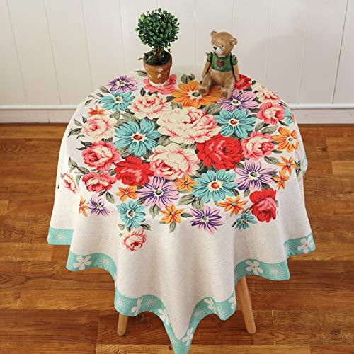 PhantasyIsland.com Manteles de Mesa Rectangular Antimanchas Lino para Cocina Decoración del Hogar Verde 140 * 140cm