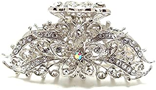 beautyxyz New Silver Crystal high quality Metal Butterfly/flowers Hair Claw Clip Pin 8021