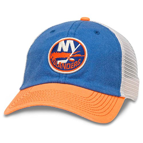 AMERICAN NEEDLE Hanover NHL Team Mesh Hat, New York Islanders, Ivory/Royal/Orange (43352A-NYI)