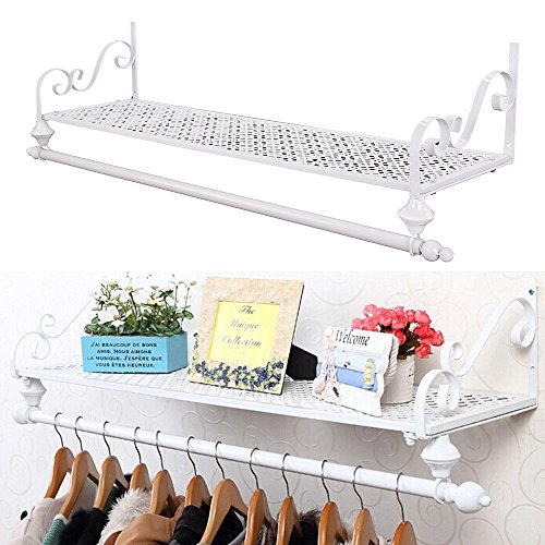Perchero de pared de metal para colgar ropa, estilo retro, con estante (blanco)