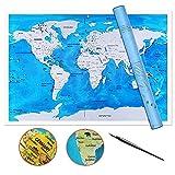 ZHIJING Weltkarte zum Rubbeln Seekarte in Englisch Scratch
