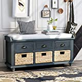 P PURLOVE Rustic Storage Bench Entryway Storage Bench with 3 Drawers and 3 Rattan Baskets Shoe Storage Bench with Removable Cushion for Living Room, Entryway(Antique Navy)