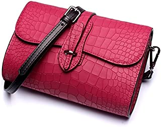 Leather 2018 New Women's Shoulder Wallet Leather Clutch Wallet Shoulder Wallet Handbag Wallet Waterproof (Color : Purple, Size : M)