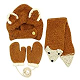 Baby Hats Baby Mittens Baby Girls Boys Winter Warm Knit Hat+Scarf+Gloves 3 Pieces Set