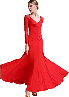 V-Neck Mesh Long-Sleeved Ballroom Dance Dresses for Ladies Practice Stretch Smooth Simple Classic Waltz Tango Dance Training Suit Solid Color