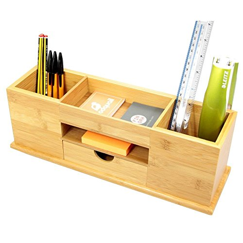 Organiser per scrivania, con cassetto e 5 scomparti, Realizzato in bambù naturale