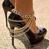 bohond punk stratificato cavigliera oro multistrato catene del piede discoteca cavigliere festa moda scarpe col tacco alto accessori per donne e ragazze