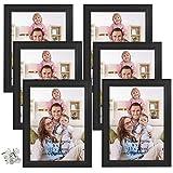 Giftgarden Marcos de Fotos Multiples 15x20 de Pared y Mesa, Conjunto de Portafotos Negros de Madera, Diseño Sencillo y Moderno, 6 Piezas
