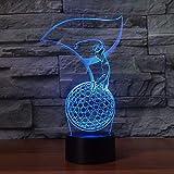 Control remoto Luz nocturna 3D para ayudar a dormir 7 colores LED Golf Tienda familiar Ambiente romántico niños amigos regalos de vacaciones